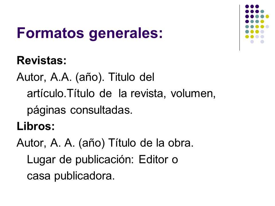 Formatos generales: Revistas: Autor, A.A. (año). Titulo del