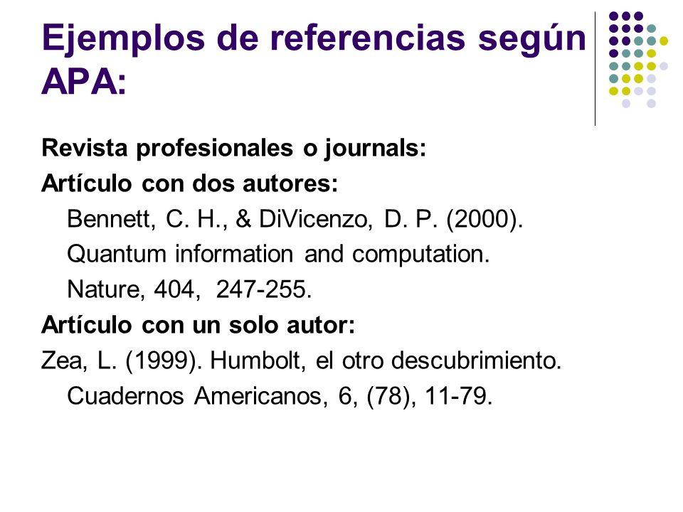 Ejemplos de referencias según APA: