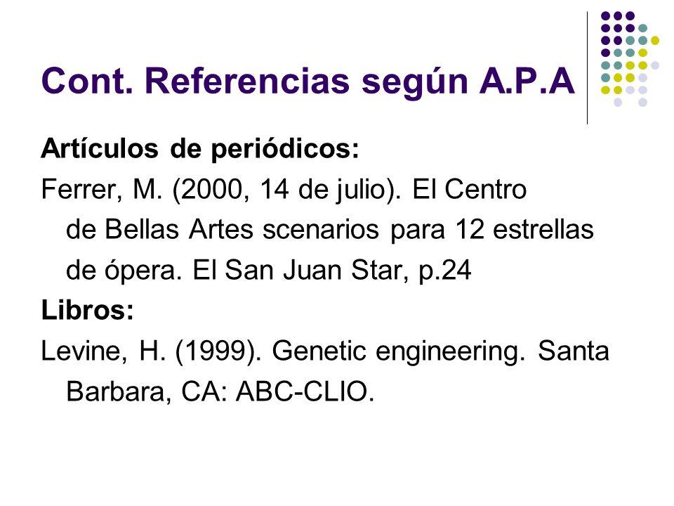 Cont. Referencias según A.P.A