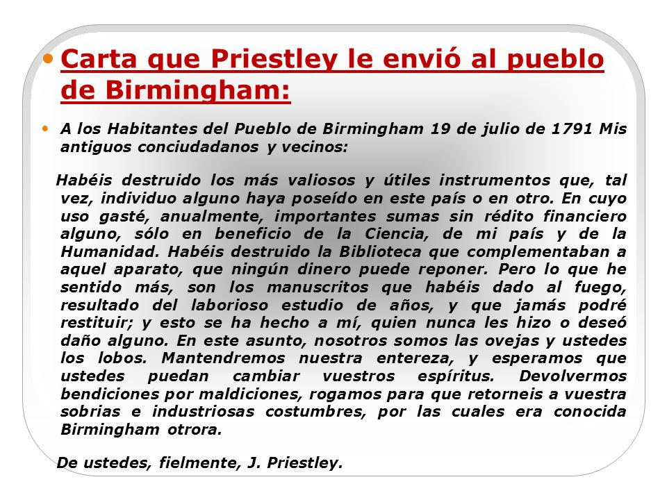 Carta que Priestley le envió al pueblo de Birmingham: