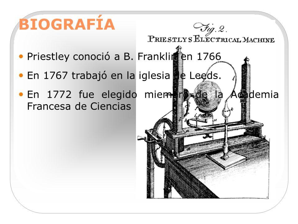 BIOGRAFÍA Priestley conoció a B. Franklin en 1766