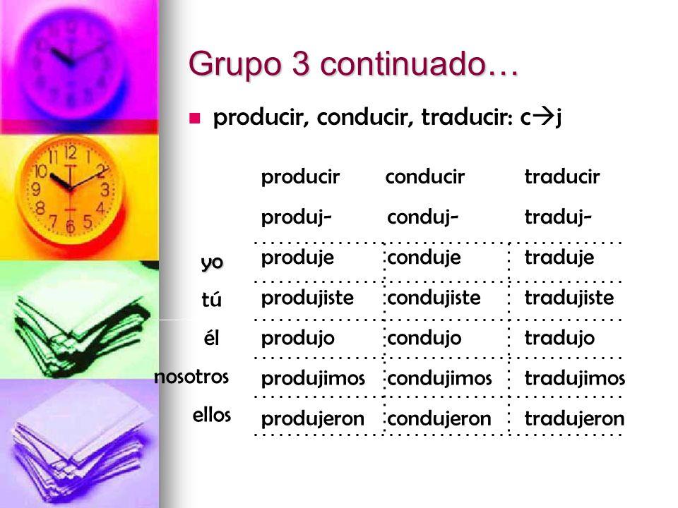 Grupo 3 continuado… producir, conducir, traducir: cj producir
