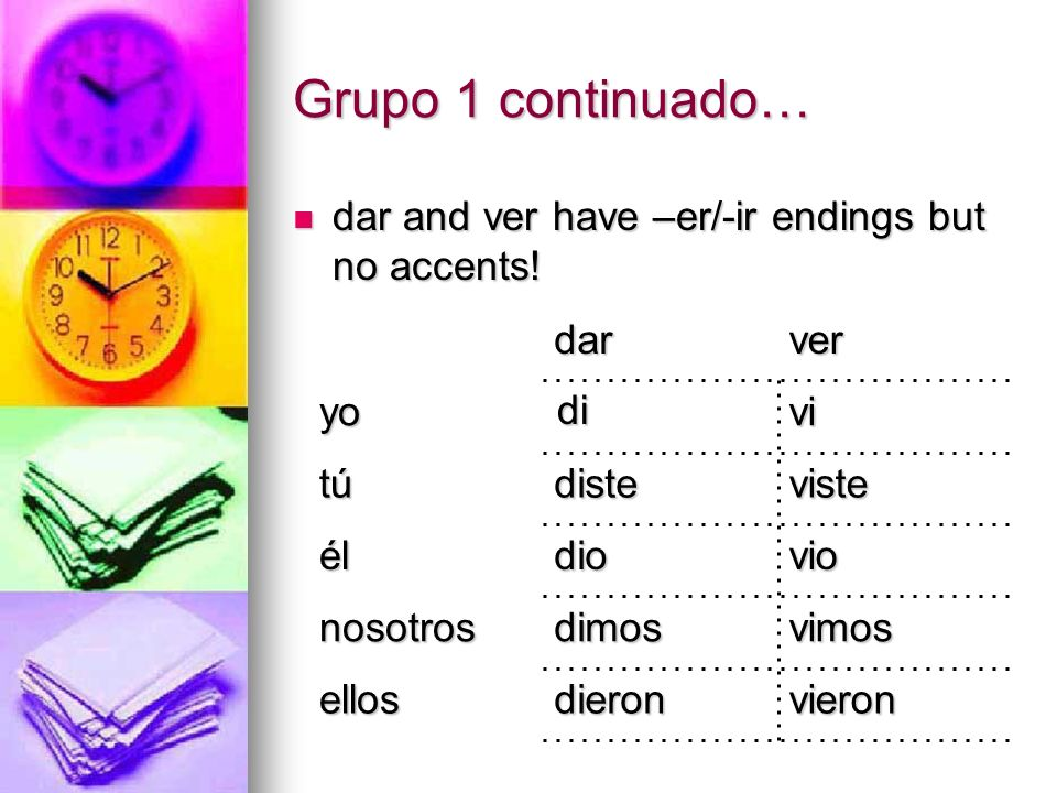 Grupo 1 continuado… dar and ver have –er/-ir endings but no accents!