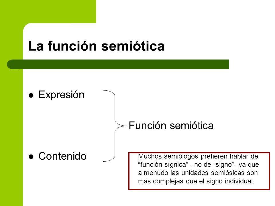 La función semiótica Expresión Función semiótica Contenido