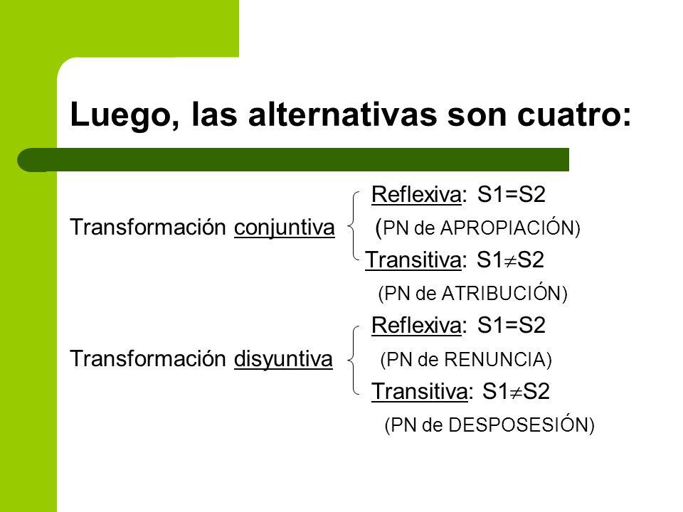Luego, las alternativas son cuatro: