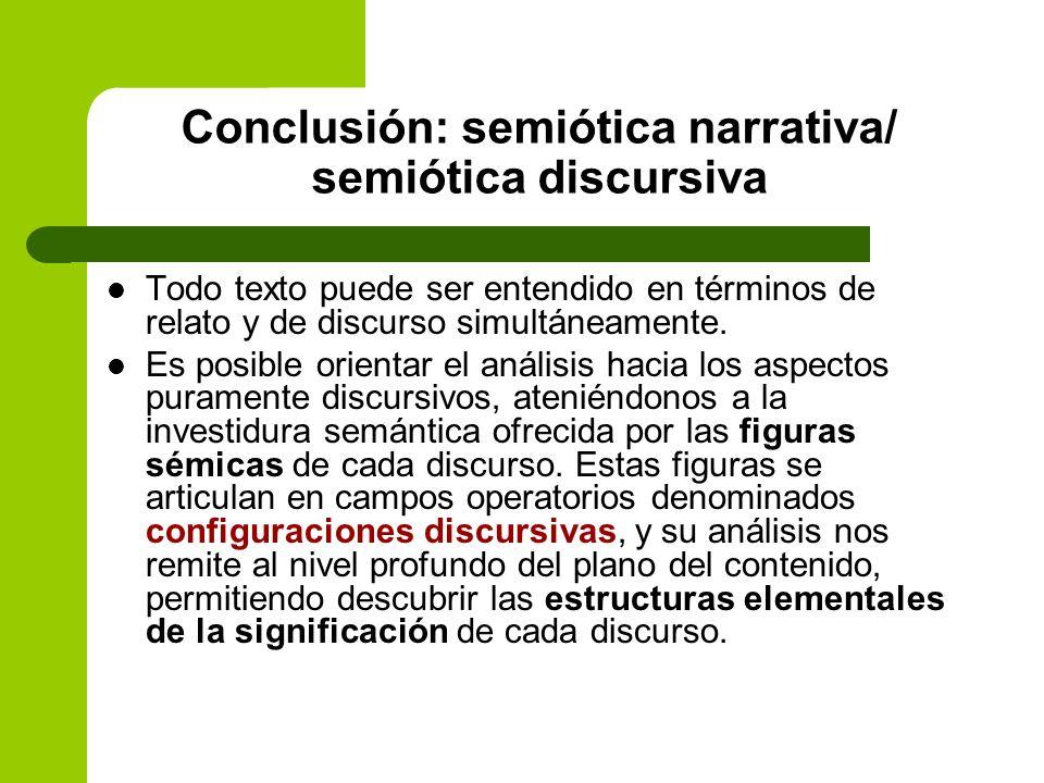 Conclusión: semiótica narrativa/ semiótica discursiva