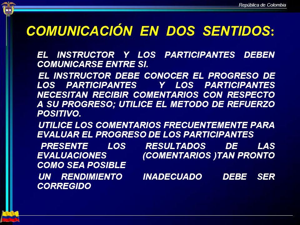 COMUNICACIÓN EN DOS SENTIDOS: