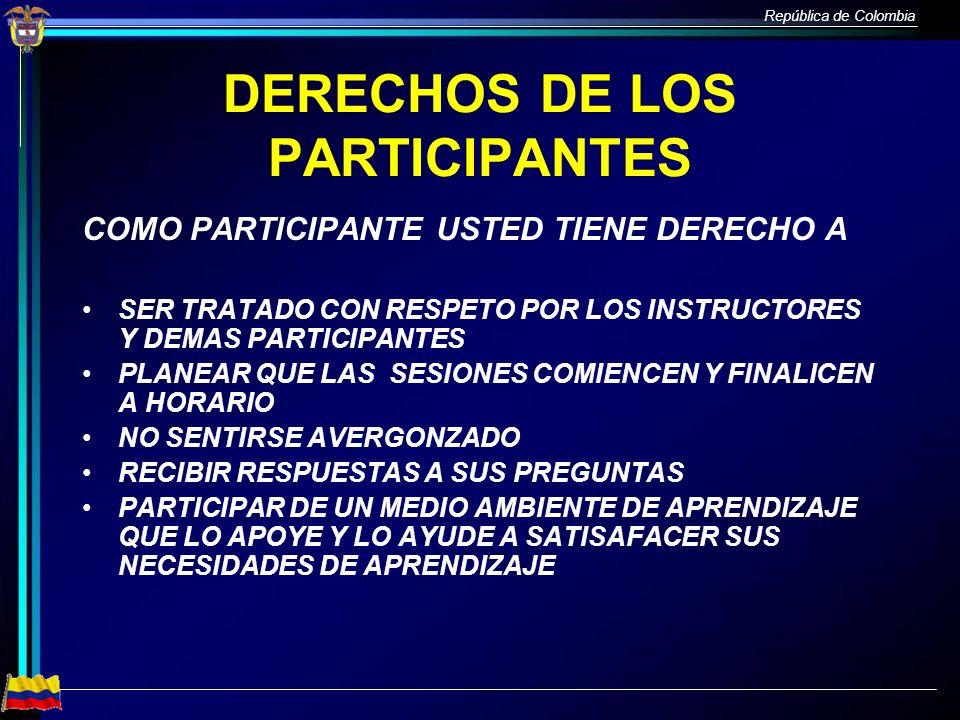 DERECHOS DE LOS PARTICIPANTES