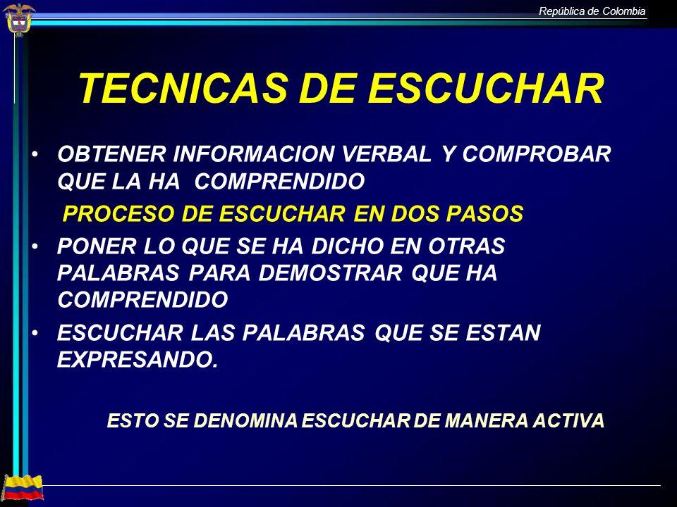 TECNICAS DE ESCUCHAROBTENER INFORMACION VERBAL Y COMPROBAR QUE LA HA COMPRENDIDO. PROCESO DE ESCUCHAR EN DOS PASOS.