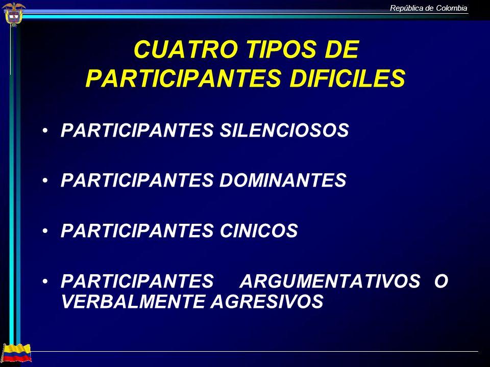 CUATRO TIPOS DE PARTICIPANTES DIFICILES
