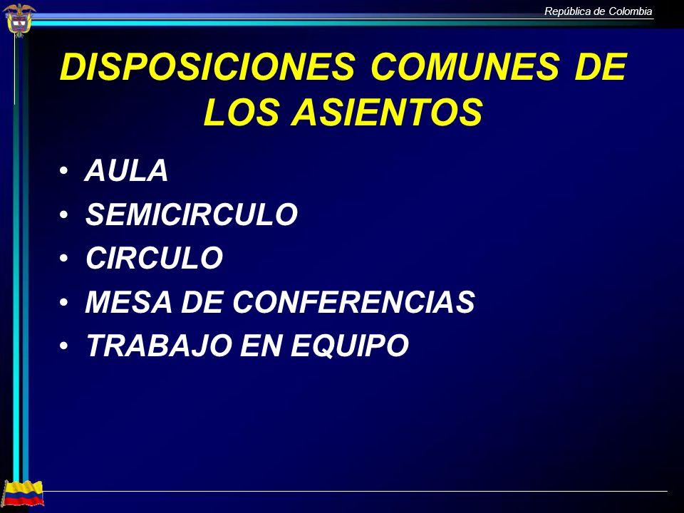 DISPOSICIONES COMUNES DE LOS ASIENTOS