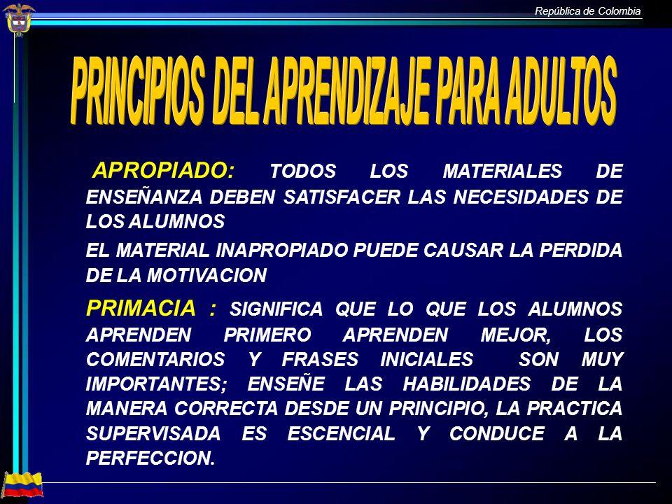PRINCIPIOS DEL APRENDIZAJE PARA ADULTOS
