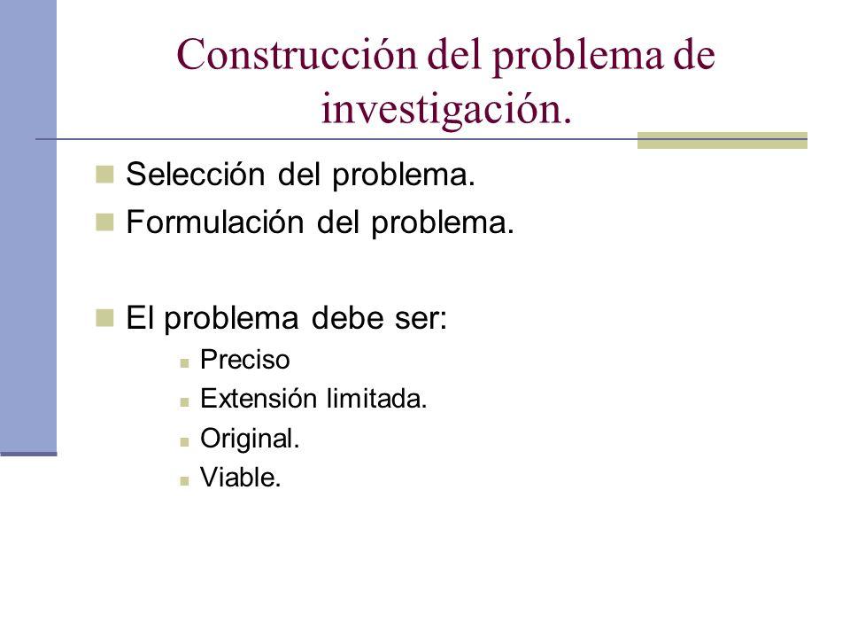 Construcción del problema de investigación.