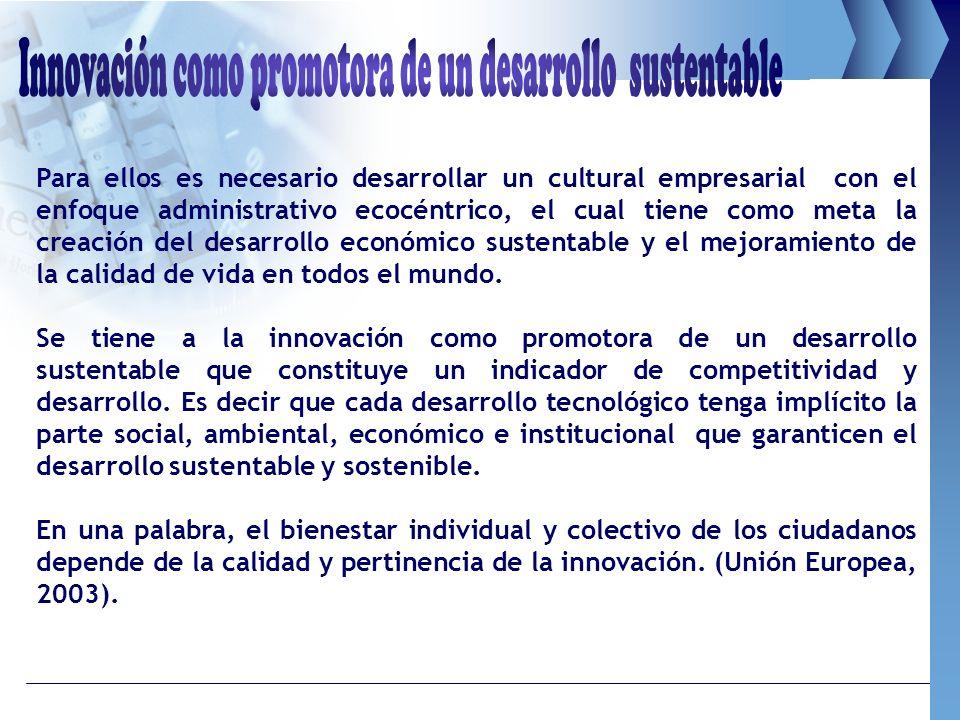 Innovación como promotora de un desarrollo sustentable