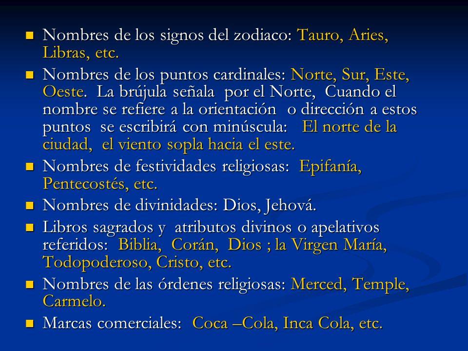 Nombres de los signos del zodiaco: Tauro, Aries, Libras, etc.