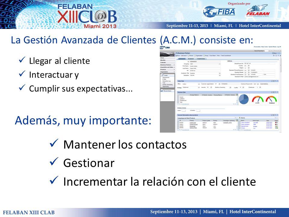 La Gestión Avanzada de Clientes (A.C.M.) consiste en: