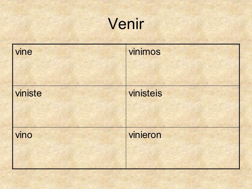 Venir vine vinimos viniste vinisteis vino vinieron