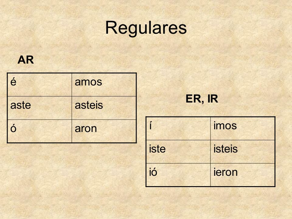 Regulares AR é amos aste asteis ó aron ER, IR í imos iste isteis ió