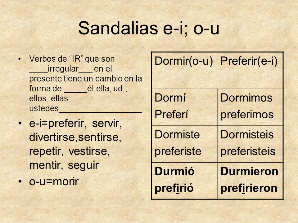 Sandalias e-i; o-u