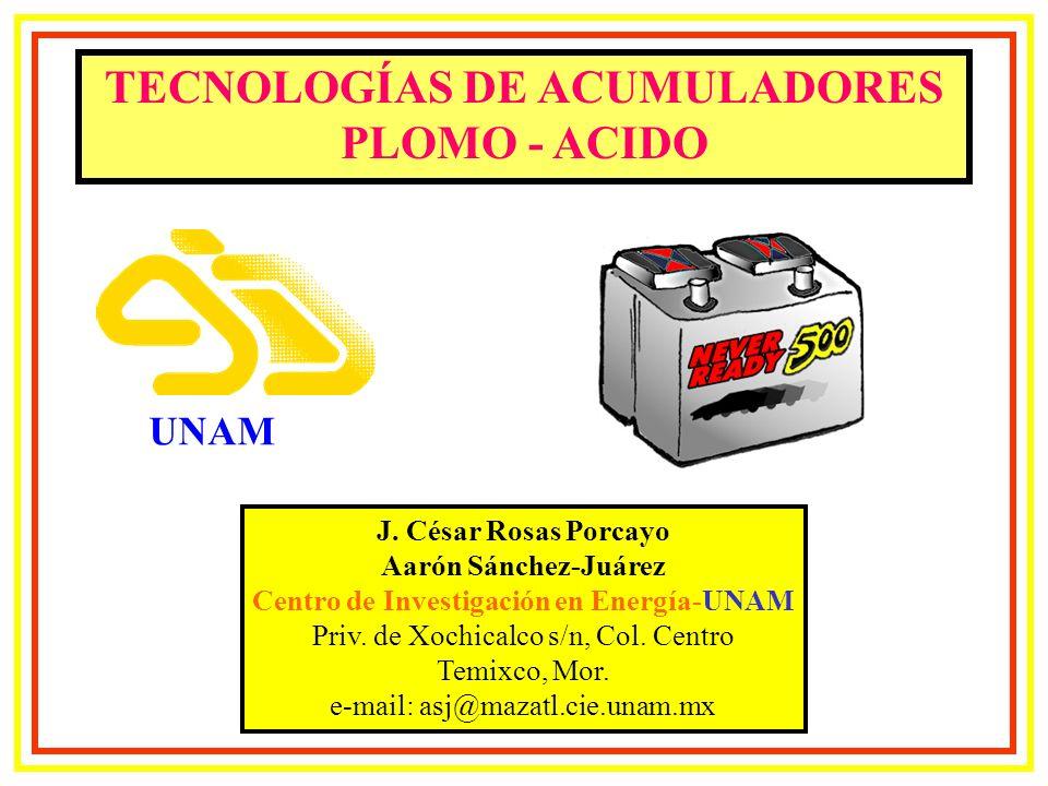 TECNOLOGÍAS DE ACUMULADORES PLOMO - ACIDO