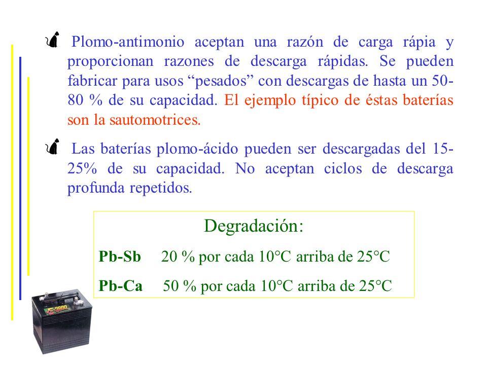 Plomo-antimonio aceptan una razón de carga rápia y proporcionan razones de descarga rápidas. Se pueden fabricar para usos pesados con descargas de hasta un 50-80 % de su capacidad. El ejemplo típico de éstas baterías son la sautomotrices.