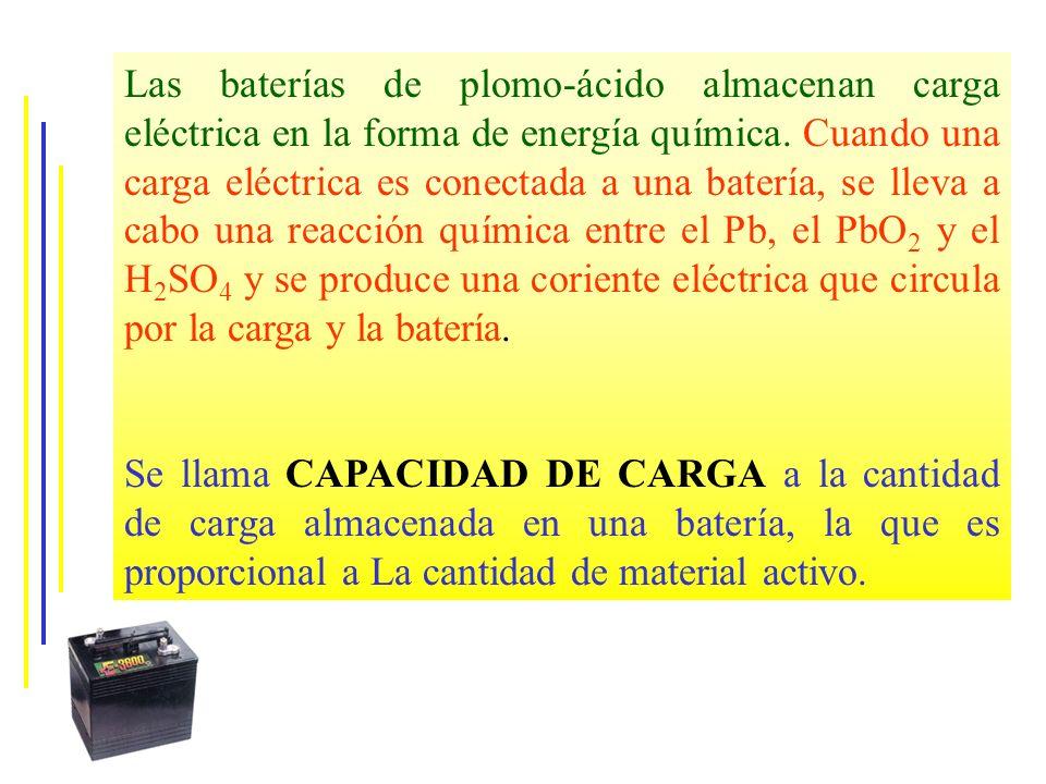 Las baterías de plomo-ácido almacenan carga eléctrica en la forma de energía química. Cuando una carga eléctrica es conectada a una batería, se lleva a cabo una reacción química entre el Pb, el PbO2 y el H2SO4 y se produce una coriente eléctrica que circula por la carga y la batería.