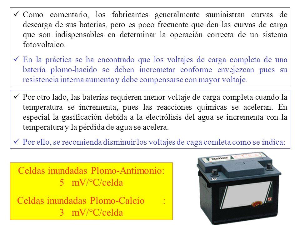 Celdas inundadas Plomo-Antimonio: 5 mV/°C/celda