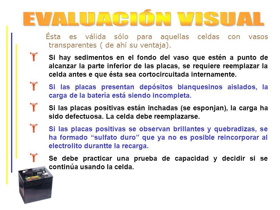EVALUACIÓN VISUAL Ésta es válida sólo para aquellas celdas con vasos transparentes ( de ahí su ventaja).