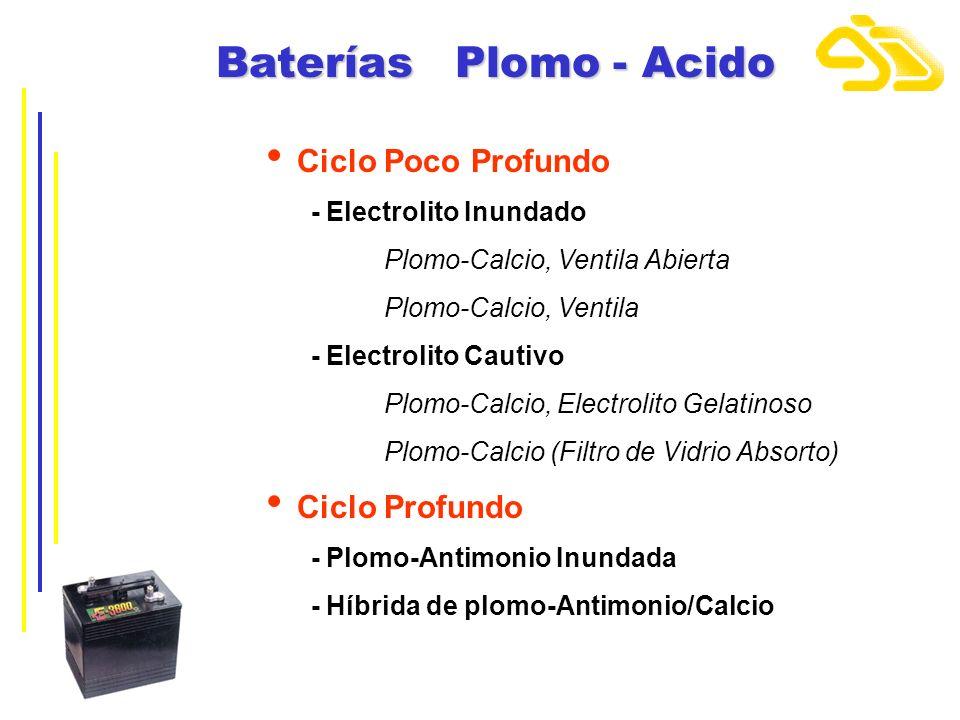 Baterías Plomo - Acido Ciclo Poco Profundo Ciclo Profundo