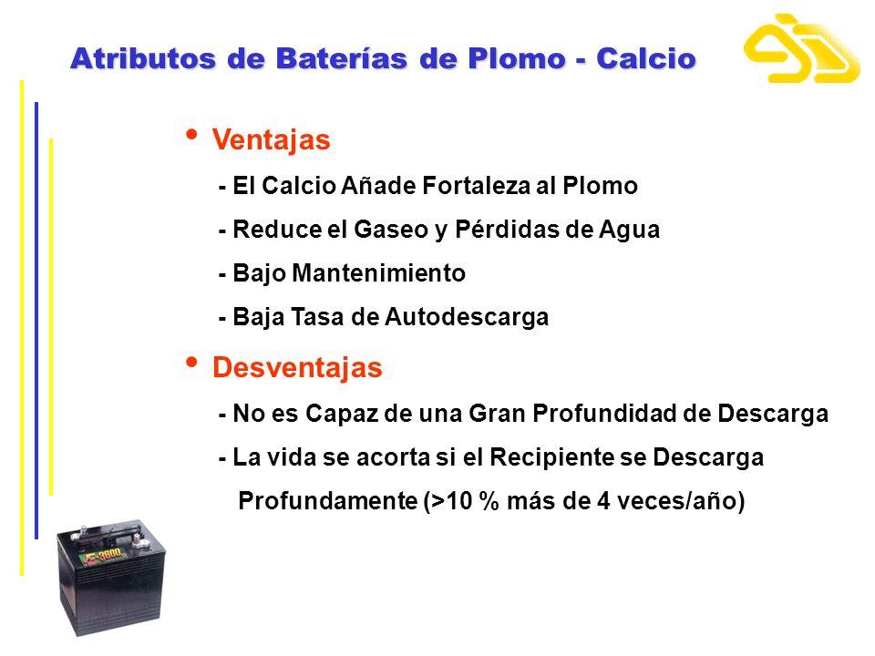 Atributos de Baterías de Plomo - Calcio