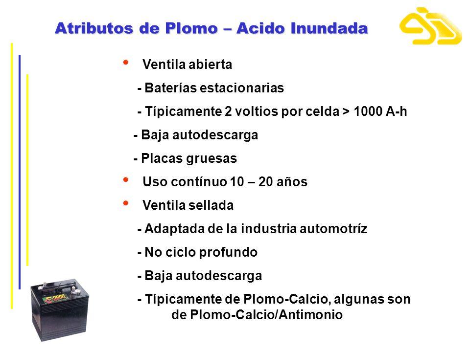 Atributos de Plomo – Acido Inundada