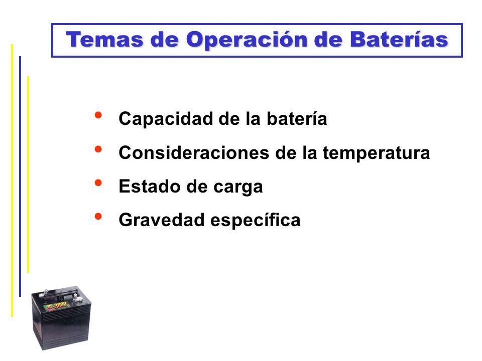 Temas de Operación de Baterías