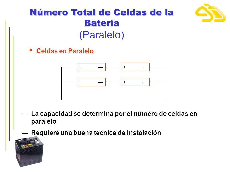 Número Total de Celdas de la Batería