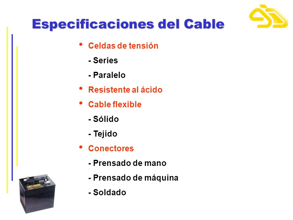 Especificaciones del Cable