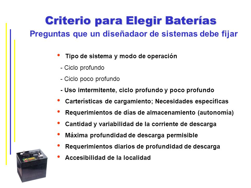 Criterio para Elegir Baterías