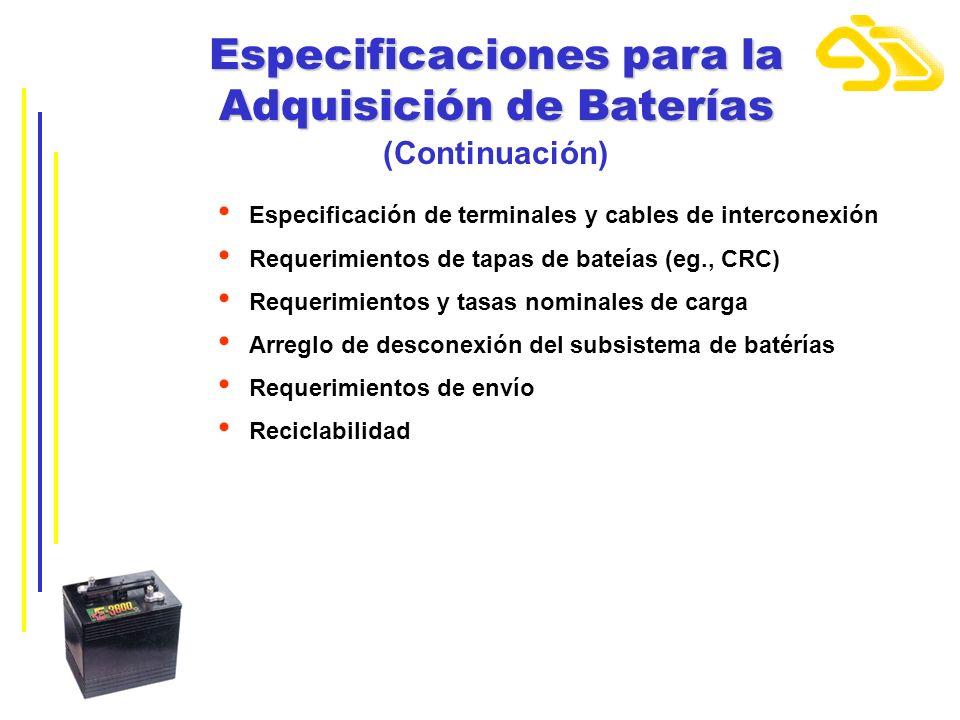 Especificaciones para la Adquisición de Baterías