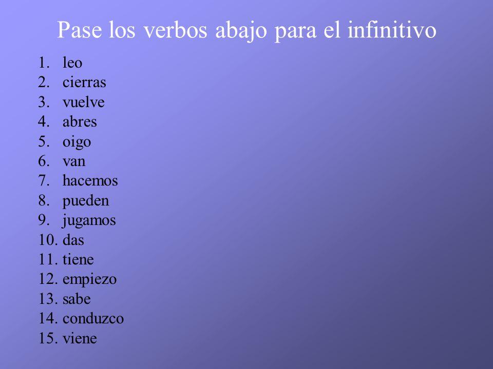 Pase los verbos abajo para el infinitivo