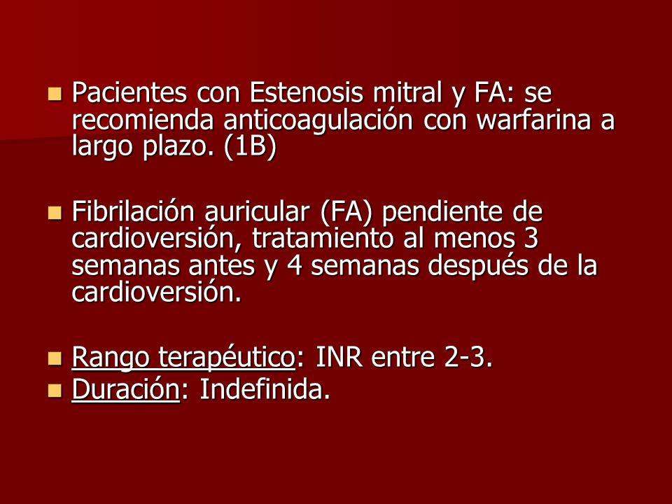 Pacientes con Estenosis mitral y FA: se recomienda anticoagulación con warfarina a largo plazo. (1B)