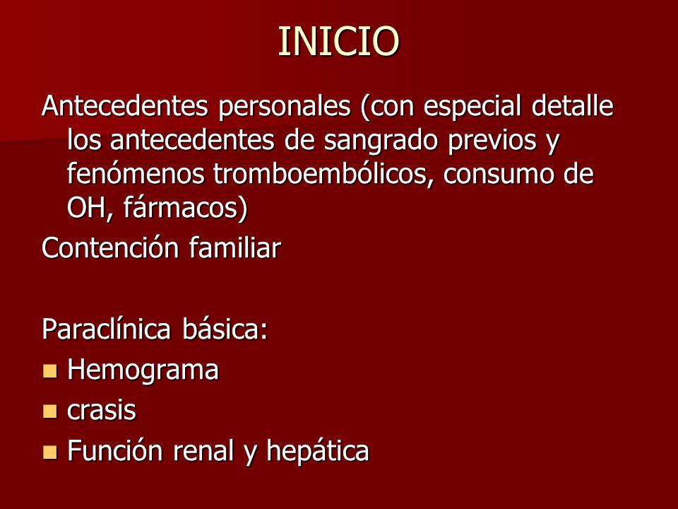 INICIO Antecedentes personales (con especial detalle los antecedentes de sangrado previos y fenómenos tromboembólicos, consumo de OH, fármacos)