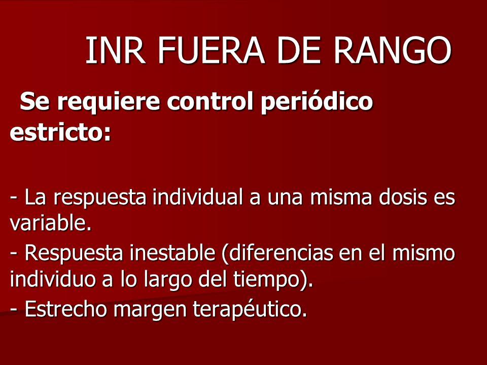 INR FUERA DE RANGO Se requiere control periódico estricto: