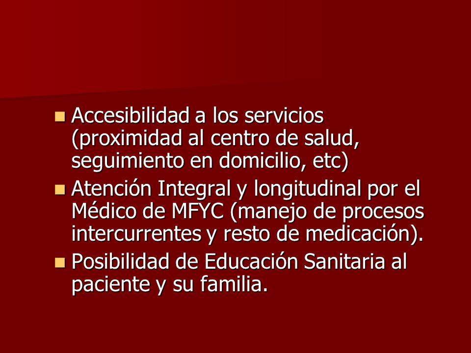 Accesibilidad a los servicios (proximidad al centro de salud, seguimiento en domicilio, etc)