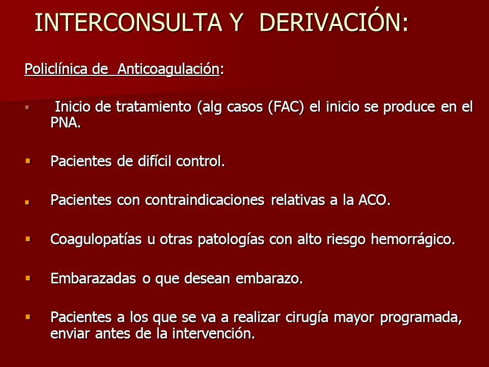 INTERCONSULTA Y DERIVACIÓN: