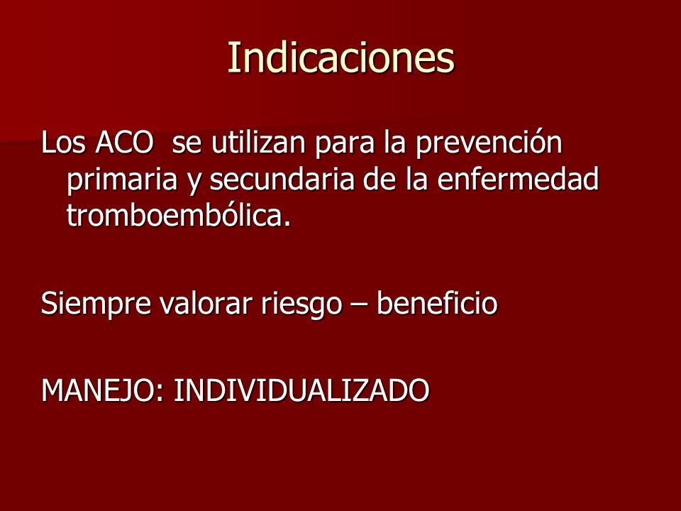 Indicaciones Los ACO se utilizan para la prevención primaria y secundaria de la enfermedad tromboembólica.