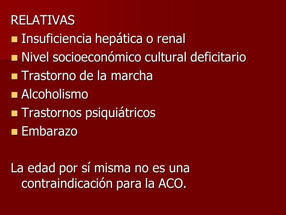 RELATIVAS Insuficiencia hepática o renal. Nivel socioeconómico cultural deficitario. Trastorno de la marcha.