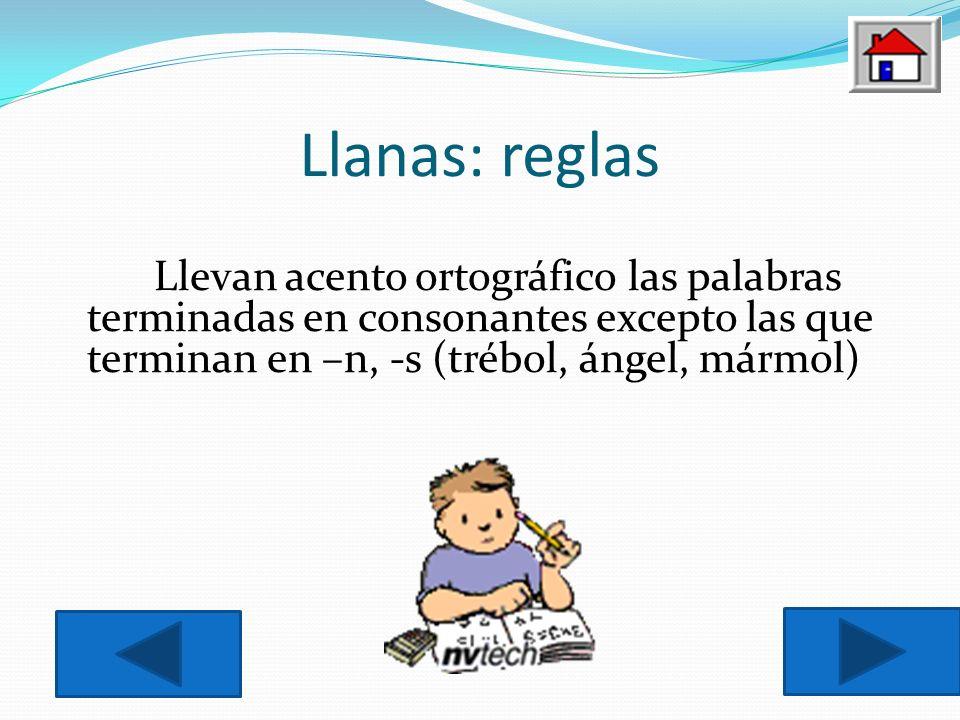 Llanas: reglas Llevan acento ortográfico las palabras terminadas en consonantes excepto las que terminan en –n, -s (trébol, ángel, mármol)