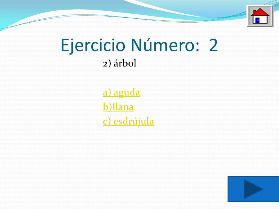 Ejercicio Número: 2 2) árbol a) aguda b)llana c) esdrújula