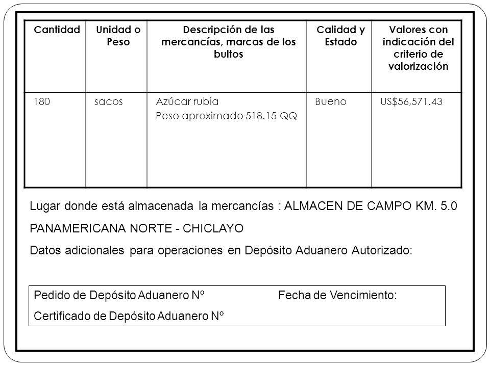 Lugar donde está almacenada la mercancías : ALMACEN DE CAMPO KM. 5.0