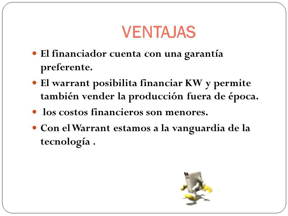 VENTAJAS El financiador cuenta con una garantía preferente.