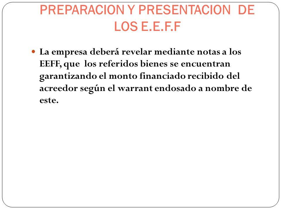 PREPARACION Y PRESENTACION DE LOS E.E.F.F