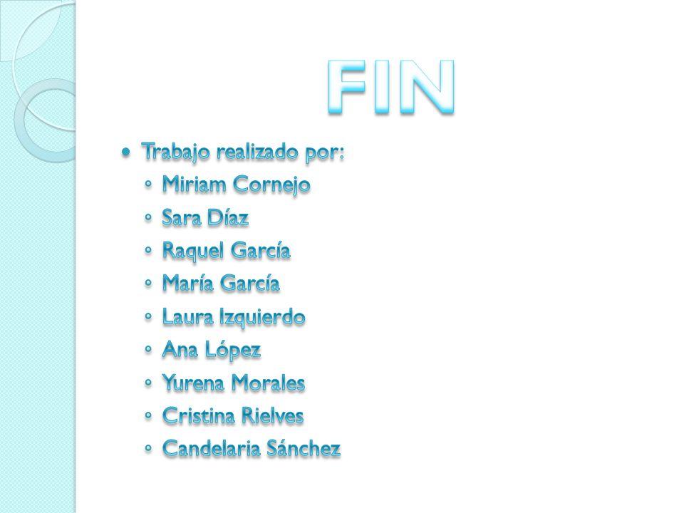 FIN Trabajo realizado por: Miriam Cornejo Sara Díaz Raquel García